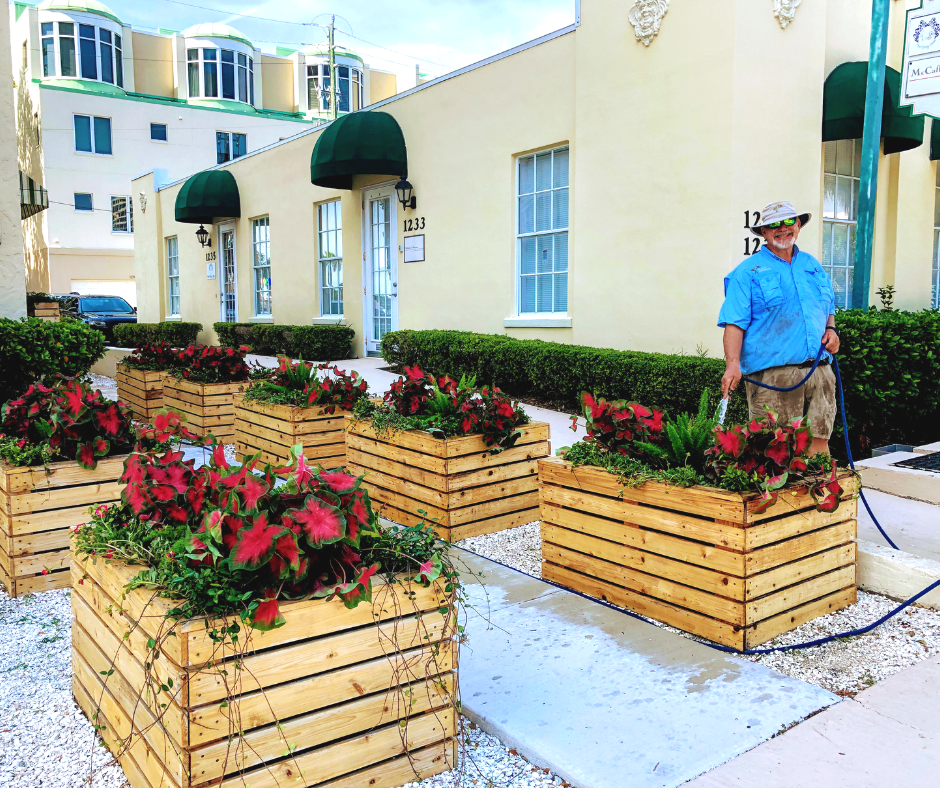 Large wooden flower beds