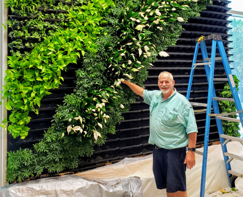 David Glosser of Plant Parents installing GSky Living Green Wall in Sarasota Florida